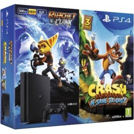 Sony PlayStation 4 Slim Jet Black 500GB (PS4 Slim 500GB) + Ratchet and Clank + Crash Bandicoot Trilogy  PlayStation 4