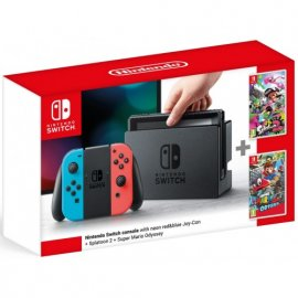 Nintendo Switch Red/Neon + Splatoon 2, SuperMario Odyssey Bundle Nintendo Switch